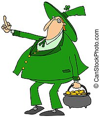 Leprechaun flipping the bird - Illustration depicting an...