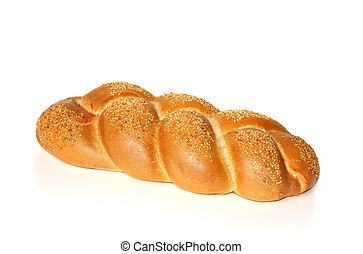 Challah with sesame seeds isolated on white