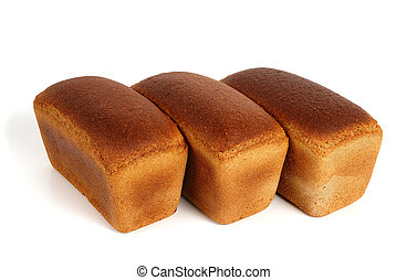 Three loaves pf bread - Three loaves of rye bread over white