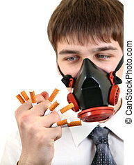 Teenager with Broken Cigarettes - Teenager in Gas Mask with...