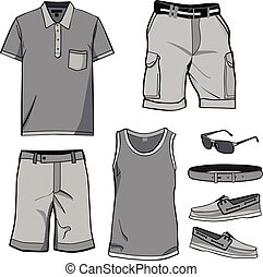 Men's clothes and summer accessories.