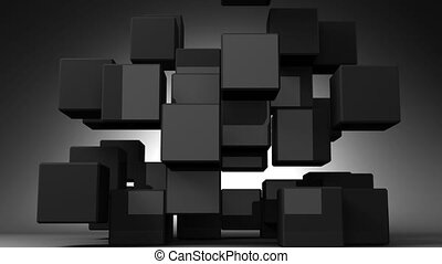Black Cube Abstract On Black Background.