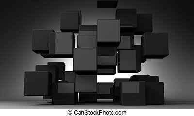 Black Cube Abstract - Loop Able Black Cube Abstract On Black...