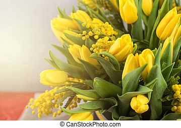 Bright spring bouquet of tulips and mimosa flowers. Mother's...