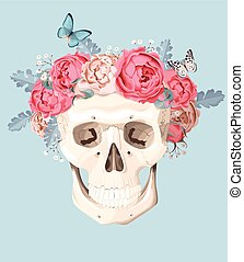 Human skull with roses - Vector illustration of vintage...