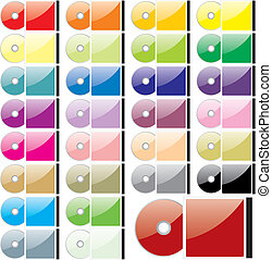 vector twenty-five colored CDs and cases - fully editable...