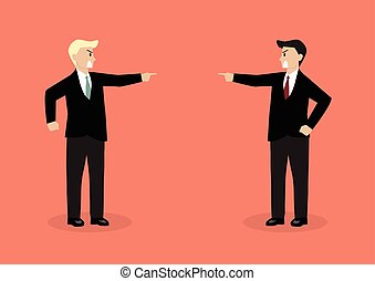 Two angry businessman are shouting on each other Concept of...