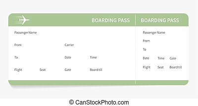 green boarding pass - Airline boarding pass. Green ticket...