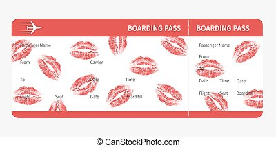 boarding pass lips - Airline boarding pass. red ticket...