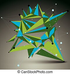 3D vector abstract technology colorful mesh shape, green...