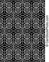 Monochrome illusive abstract geometric seamless pattern with...