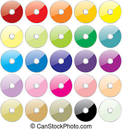 vector twenty-five colored CDs - fully editable vector...
