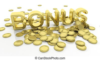 Pile of golden coins and word Bonus, isolated on white...