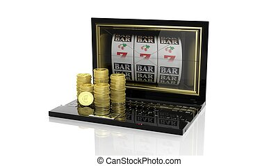 Stacks of golden Euro coins on laptop with 777 slots on...