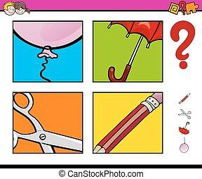 preschool educational activity - Cartoon Illustration of...