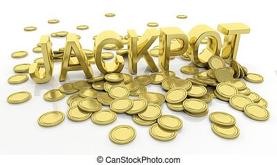 Pile of golden coins and word Jackpot, isolated on white...