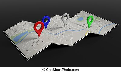Folded paper map with colorful pointers, isolated on black...