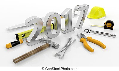 Various hand tools with 3D 2017 text, isolated on white...