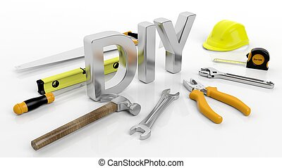 Various hand tools with 3D word DIY, isolated on white background.
