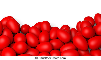 Red painted Easter eggs, isolated on white with copy-space