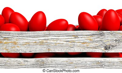 Red painted Easter eggs in wooden container, isolated on...