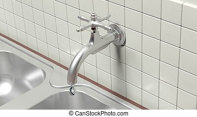 3D leaky water tap on wall with tiles and sink