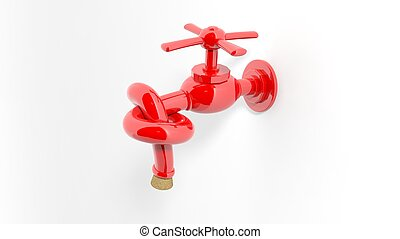 3D water tap tied knot and shut with crock, isolated on...