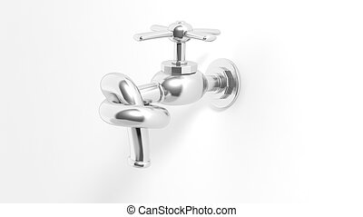 3D water tap tied knot, isolated on white background.
