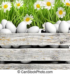 White eggs in wooden container with flowers and grass