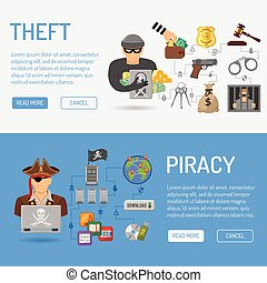 Piracy and Theft Banners - Piracy and Theft Vector Banners...
