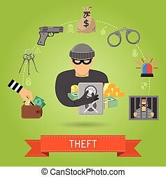 Theft Crime and Punishment Concept with Flat Icons for...