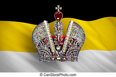 Big Imperial Crown Over Flag Of Russian Empire. 3D Scene.