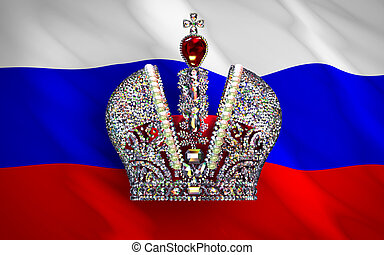 Big Imperial Crown Over Russian Flag 3D Scene