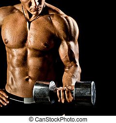 sport fitness - very power athletic guy , execute exercise...