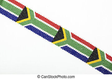 South African Flag Threaded from Colorful Zulu Beadwork -...