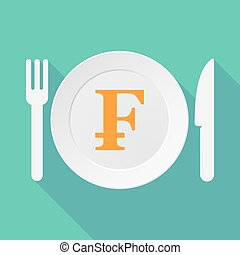 Long shadow tableware illustration with a swiss franc sign -...