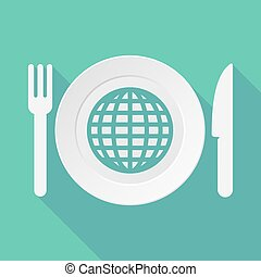 Long shadow tableware illustration with a world globe