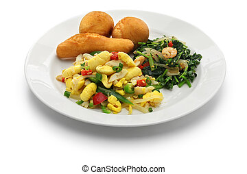 jamaican breakfast, ackee and saltfish, callaloo, jamaican...