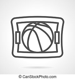 Basketball game black line design vector icon - Tablet with...