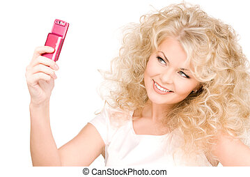 happy woman using phone camera - picture of happy woman...