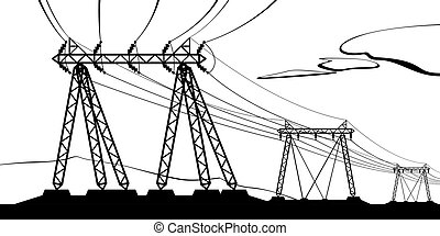 Transmission of high voltage - vector illustration