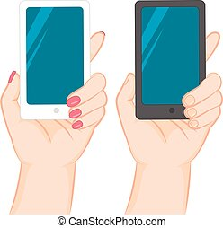 Hand Holding Smartphone - Female and male hand holding white...