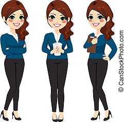 Standing Businesswoman Coffee - Beautiful young...