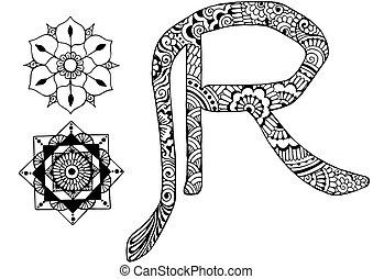 letter R decorated in the style of