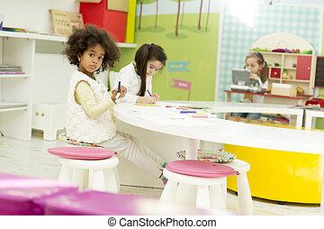 multirassisch, Spielzimmer, Zeichnung, Kinder