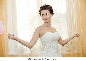 fiancee - vertical wedding portrait beautiful fiancee in...