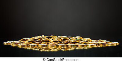 dollars - still life of very many placer gold monetary or...