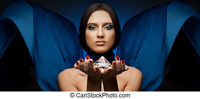 beautiful girl - the very pretty woman with blue...