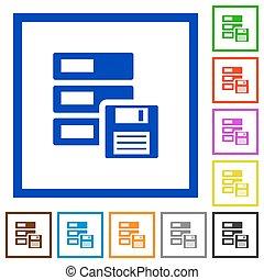 Backup framed flat icons - Set of color square framed backup...