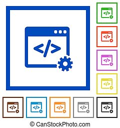 Web development framed flat icons - Set of color square...